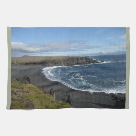 Tea Towel With Picture of Icelandic Beach