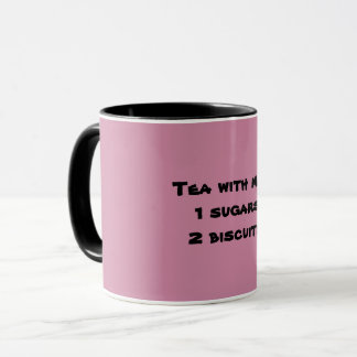 Tea with milk, 1 sugar, 2 biscuits mug