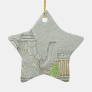 tea with mint ceramic ornament