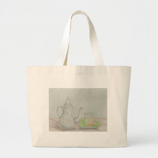 tea with mint large tote bag
