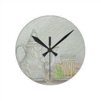 tea with mint round clock