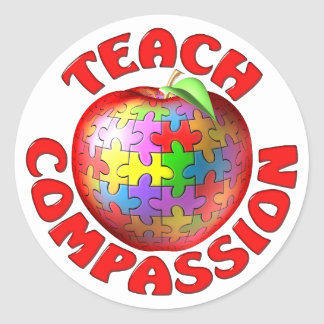Teach Compassion Classic Round Sticker