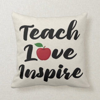 Teach Love Inspire Apple Teacher Quote School Throw Pillow