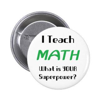Teach math 2 inch round button