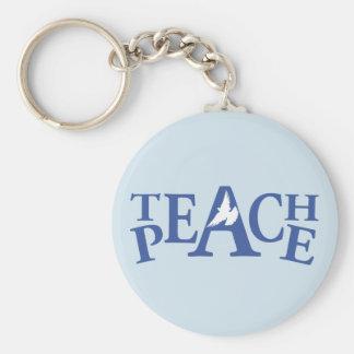 Teach peace graphic named keychain