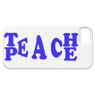 Teach Peace In Blue Font Iphone 5 Case