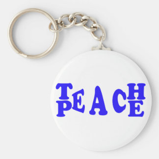 Teach Peace In Blue Font Keyring Basic Round Button Keychain