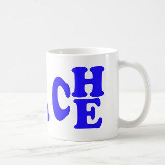 Teach Peace In Blue Font Mug