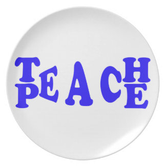 Teach Peace In Blue Font Plate