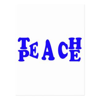 Teach Peace in Blue Postcard