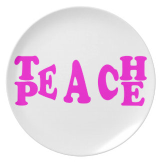 Teach Peace In Pink Font Plate