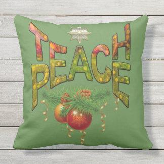 Teach Peace Outdoor Pillow