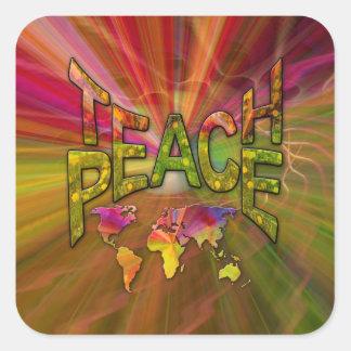 Teach Peace Square Sticker