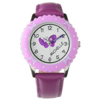 Teach to Tell Time, Purple Butterfly Ribbon & Name Watch