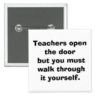 teacher 2 inch square button