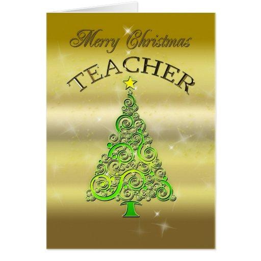 Teacher, a gold effect Christmas card