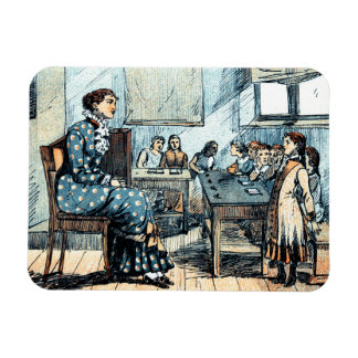 Teacher and Students. Vintage Art Gift Magnets