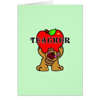 Teacher Apple Bear Note Card