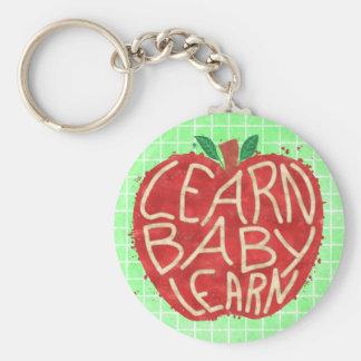 Teacher Apple Learn Baby Learn School Typography Basic Round Button Keychain