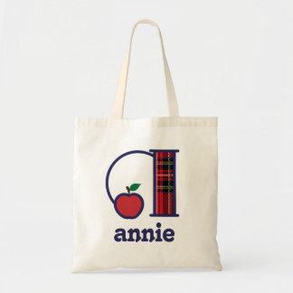 Teacher Apple Monogram Tote Bag Initial a