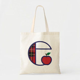 Teacher Apple Monogram Tote Bag Initial E