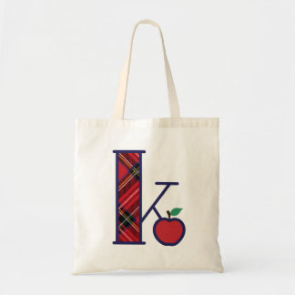 Teacher Apple Monogram Tote Bag Initial K