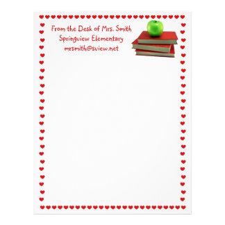 Teacher Apple on Books Letterhead