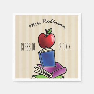 Teacher Apple with Book Stack Napkin
