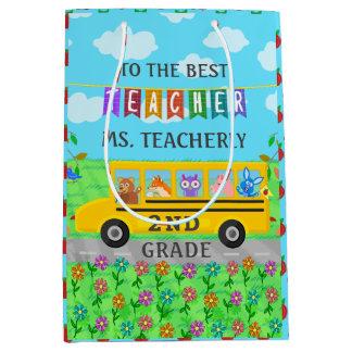 Teacher Appreciation Thank You   Cute Bus Animals Medium Gift Bag