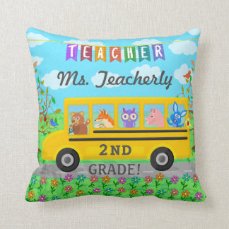 Teacher Appreciation Thank You | Cute Bus Animals Throw Pillow