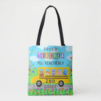 Teacher Appreciation Thank You   Cute Bus Animals Tote Bag