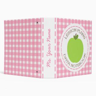 Teacher Binder - Green Apple Pink Gingham Lessons