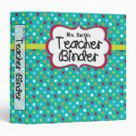 Teacher Binder - Turquoise Dots Vinyl Binder
