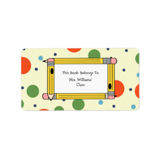 Teacher Bookplate - Polka Dots & Yellow Pencils Label