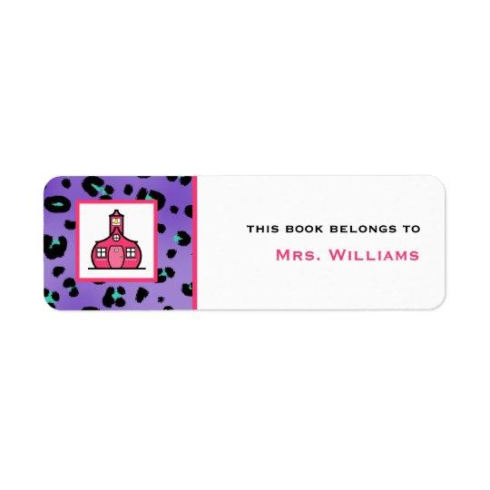 Teacher Bookplate - Purple Leopard Print