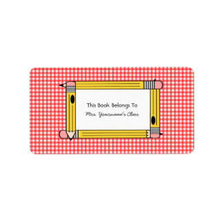 Teacher Bookplate - Red Gingham & Yellow Pencils Label