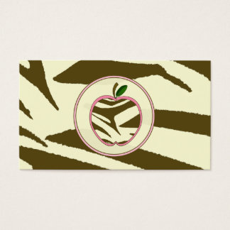 Teacher Business Card - Brown Zebra Print Apple
