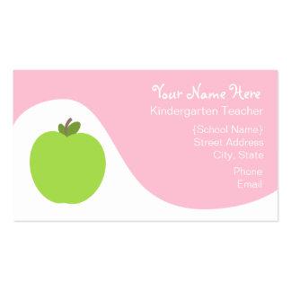 Teacher Business Card - Green Apple & Pink