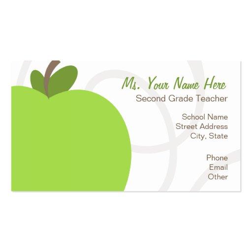 Teacher Business Card - Oversized Green Apple