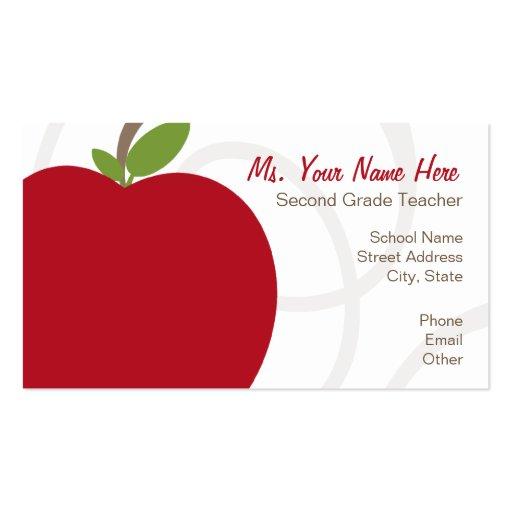 Teacher Business Card - Oversized Red Apple