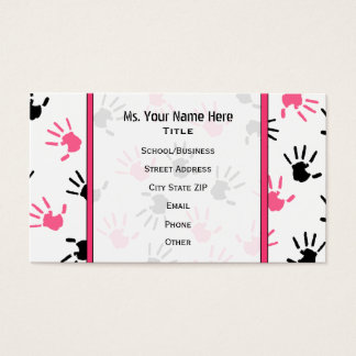 Teacher Business Card Pink & Black Handprints