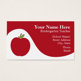Teacher Business Card - Red Apple