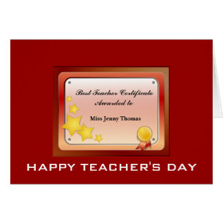 Teacher Certificate(Personalize) Card