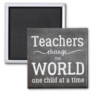 Teacher chalkboard white typography script quote magnet
