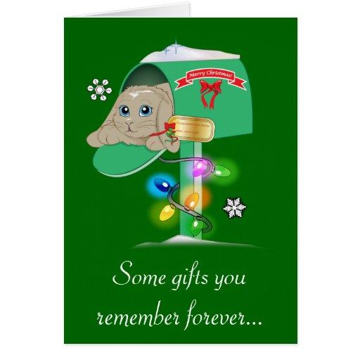 Teacher Christmas Card Surprise Bunny in Mailbox