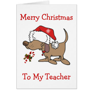 TEACHER/CHRISTMAS-CHRISTMAS PUPPY FOR TEACHER CARD