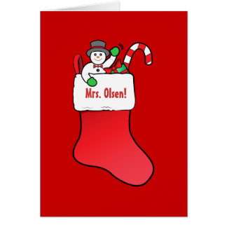 Teacher Christmas Name Customizable with Stocking Greeting Cards