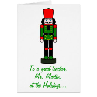 Teacher Christmas Nutcracker Name Customizable Greeting Card