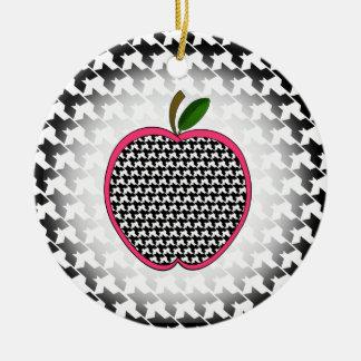 Teacher Christmas Ornament - Houndstooth Apple