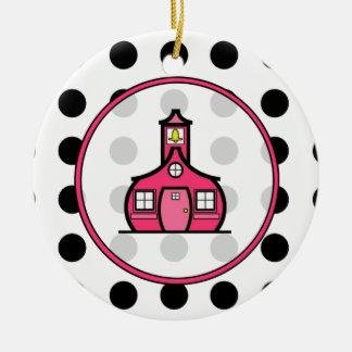 Teacher Christmas Ornament - Polka Dot & Pink
